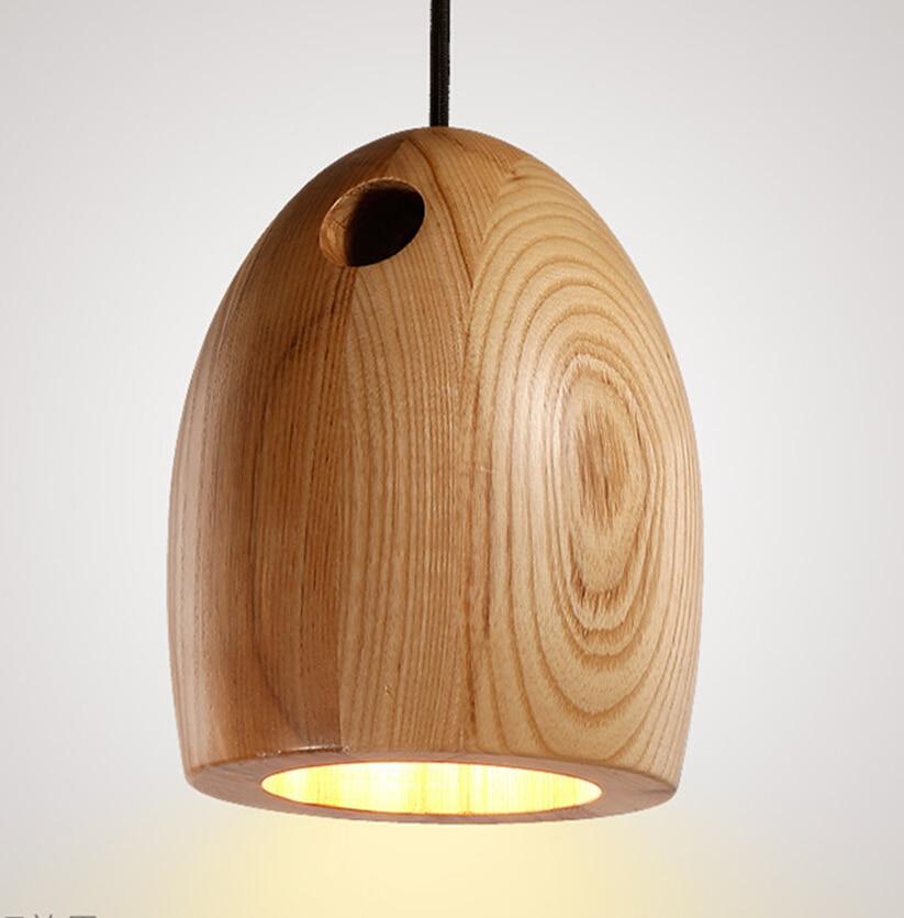 Modern Design Oak Pendant Lights Natural Minimalist Wood Pendant Lamp Suspension E27 220V For Living Room Bedroom Lamps 2016 New
