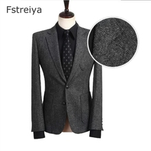 Custom made mens wool slim fit tweed suit with pants costume homme 3 pieces tailored suits for wedding customized clothing