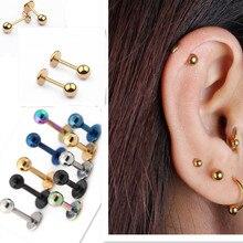 HOT Medical titanium steel stud earring Punk rod flat T-type screws small earrings male ear bone nail lip piercing jewelry women
