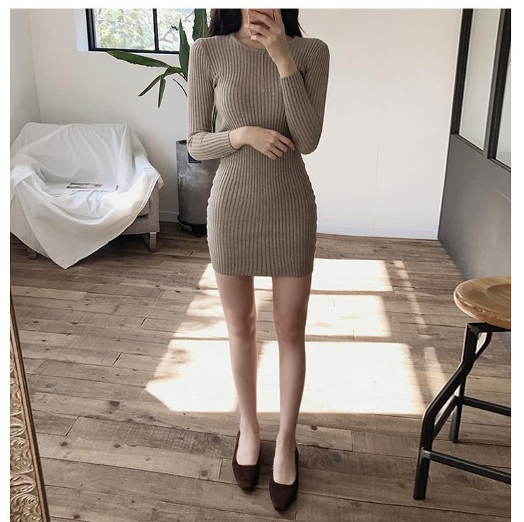 HTB1 mt4bcTxK1Rjy0Fgq6yovpXa9 - skinny  solid Elegant Autumn Dress Girls Boho Female Vintage Dress knitting Women LongSleeve Women Dresses knitted Robe Vestido