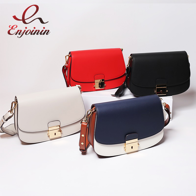 New Trend Design Genuine Leather Stitching Colors Ladies Fashion Saddle Bag Shoulder Bag Female Crossbody Messenger Bag Purse new punk fashion metal tassel pu leather folding envelope bag clutch bag ladies shoulder bag purse crossbody messenger bag