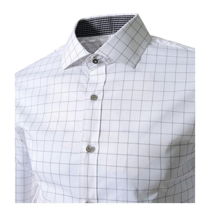 2017 nieuwe lente merk mannen shirt mode jurk shirt lange mouw mannen - Herenkleding - Foto 3