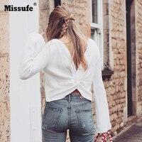 Missufe 여성 Aututmn 슬림 화이트 자르기 탑 섹시 백 크로스 트위스트 플레어 소매 T 셔츠