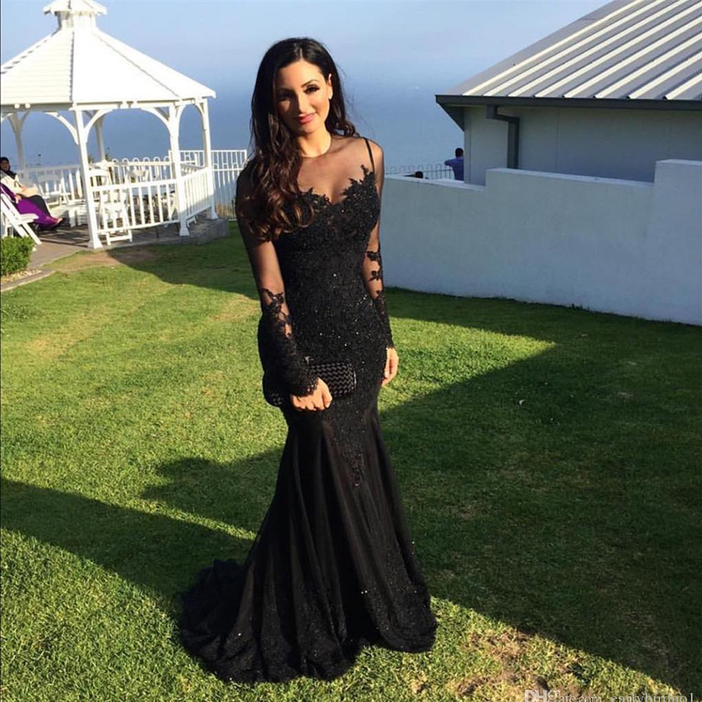 Elegant Long Sleeve Black Mermaid Prom Gown Sexy Sheer O-Neck Lace Applique Formal Evening Dresses For Wedding Party Custom Made