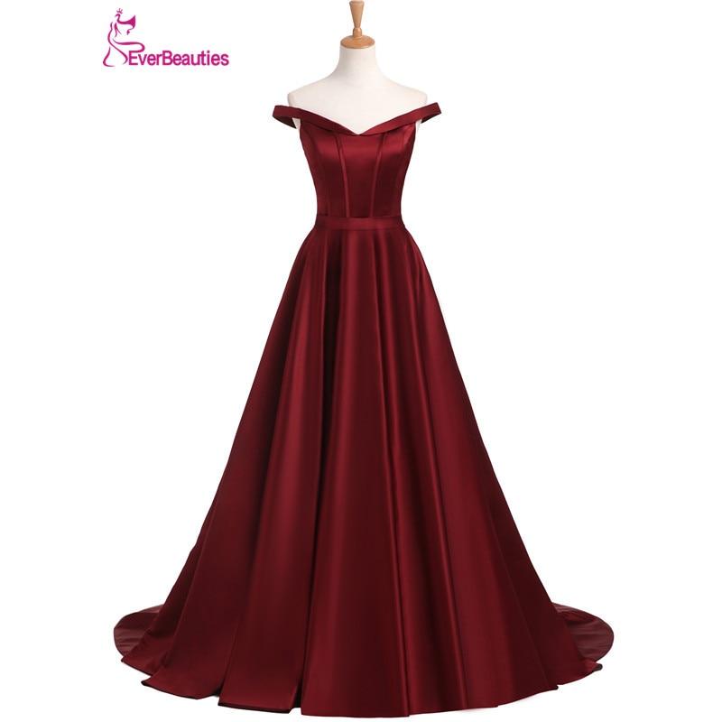 Evening Dresses Long 2018 Wine Red A Line Satin Boat Neck Formal ...