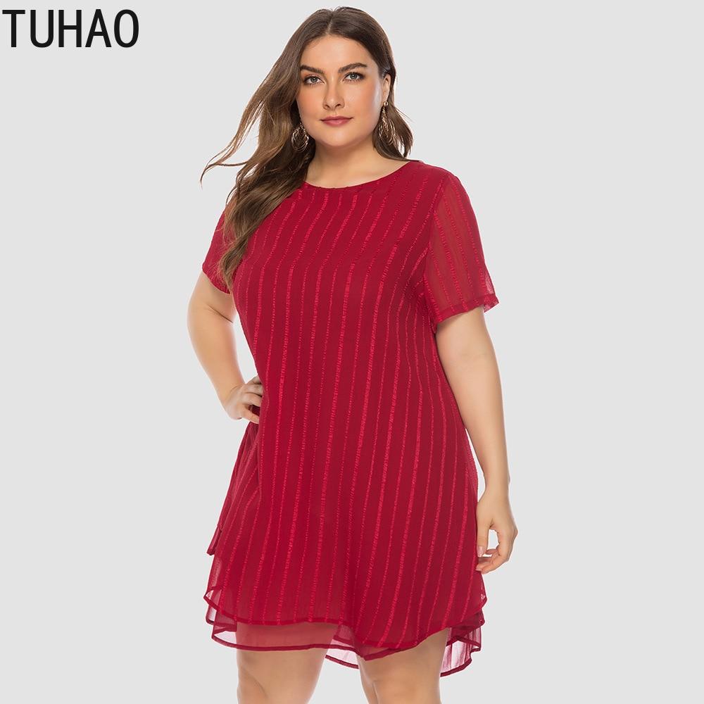 TUHAO Office Ladies Chiffon Dresses 2019 Loose Summer Plus Sizes 5XL 4XL 3XL Vestidos Women Dress Short Sleeve Dresses HC17
