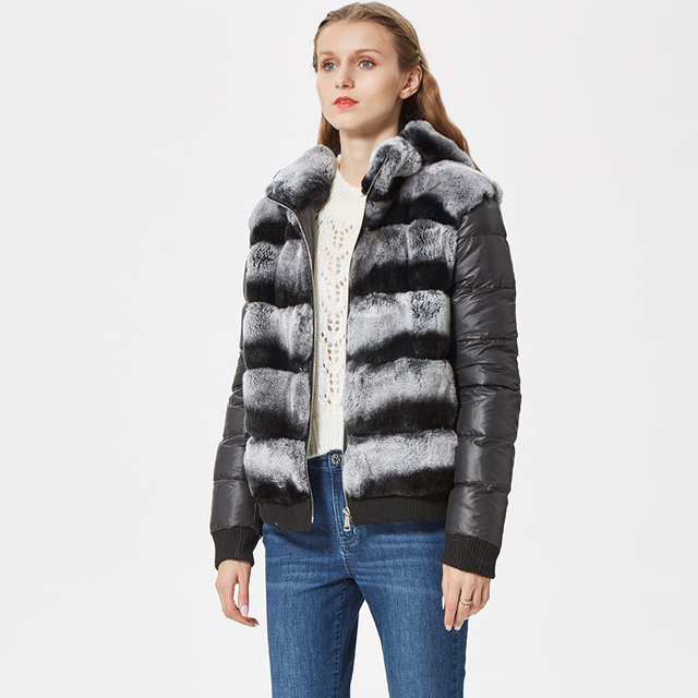 real rex rabbit fur coat with hood down coat jacket sleeves sporty fashion chinchilla color real fur jacket hooded