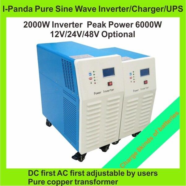 2000w Solar Power Inverter Charger Dc12v Dc24v Dc48v To