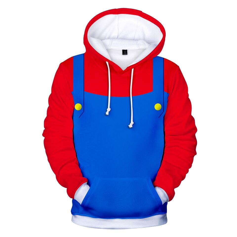 3D Round Neck Cosplay Mario Hoodies Sweatshirt Casual Anime Hoodie High Street Fashion Long Sleeve Sweatshirt Cloth