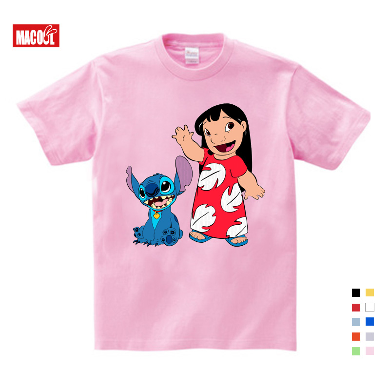 Girls Baby Clothes for Summer Shirt Tops Casual T Shirt Women Lovely Lilo and Stitch Print Punk White Short Cotton T shirt 3T 9T in T Shirts from Mother Kids