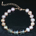 Noble design natural freshwater pearl bracelet 9-10mm round beads crystal rose gold plated clasp jewelry 7.5inch B1405