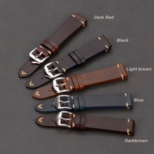 EACHE Handmade Wax Oil Skin Watch Straps Vintage Genuine Leather Watchband Calfskin Different Colors 18mm 20mm 22mm