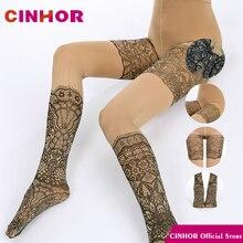 جوارب طويلة من CINHOR برسومات مطبوعة للنساء جوارب طويلة مرنة عالية من القطن بنمط مربعات ووردي شخصية ضيقة