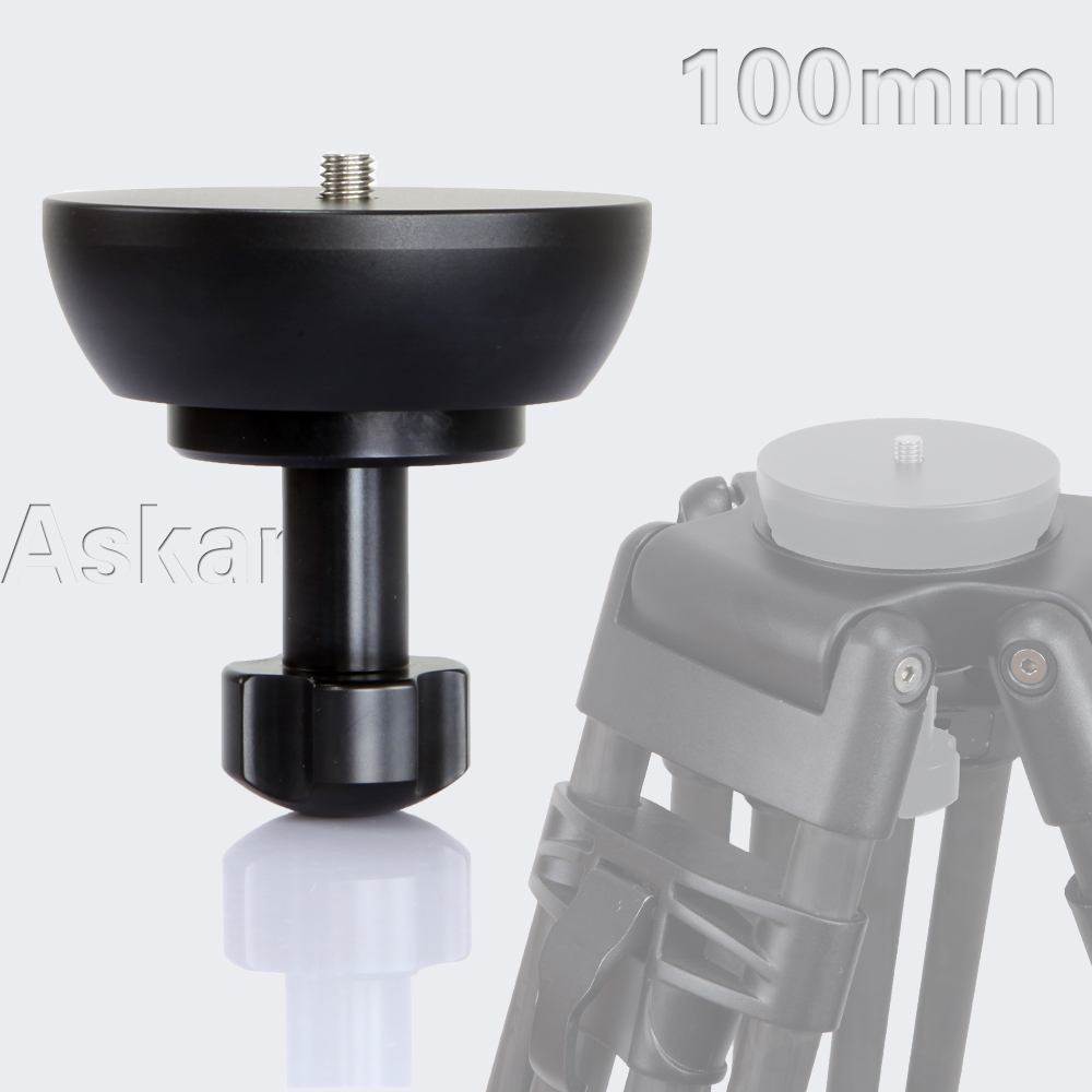 3 8 CNC Half Ball Flat Base to 100mm Bowl Adapter Converter for Manfrotto Weifeng Video