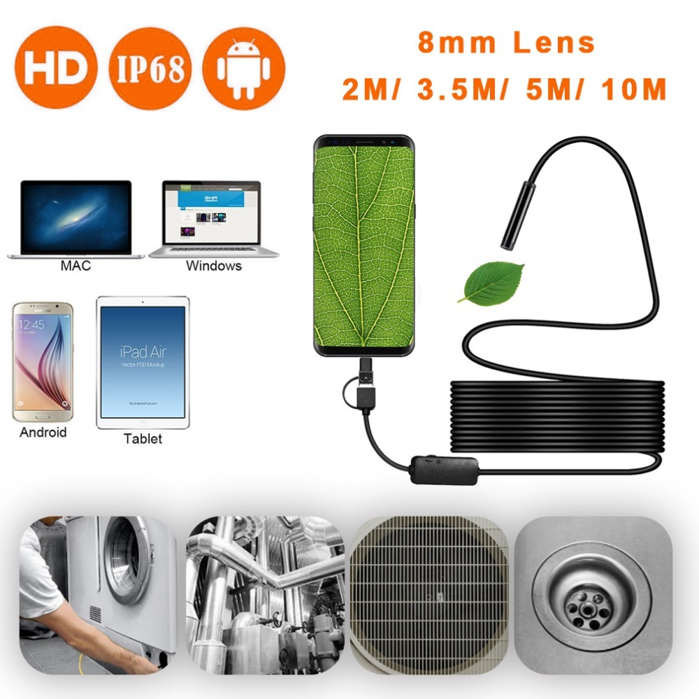 Inspection Borescope Camera 8mm Waterproof IP67 2M 3.5M 5M 10M Cable 1200P HD 3-in-1 Computer Endoscope Borescope Tube 8 LEDs