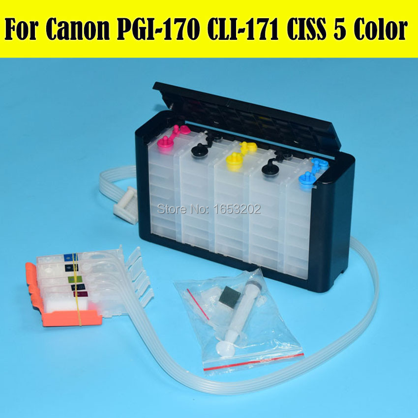 5 Color Empty Continuous Ink Supply System For Canon PGI-170 CLI-171 Ciss For Canon MG6180 MG5710 Printer Ciss