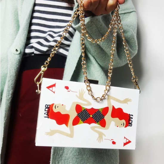 acrylic clutch women handbag acrylic clutch bag playing cards small chain day clutches mini messenger bags