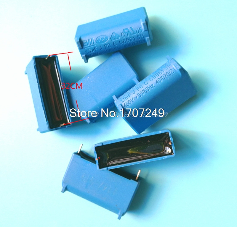 Free shipping 10pcs/lot new blue component CBB61 <font><b>1.2uF</b></font> 450VAC Air conditioning fan <font><b>capacitor</b></font> start component image