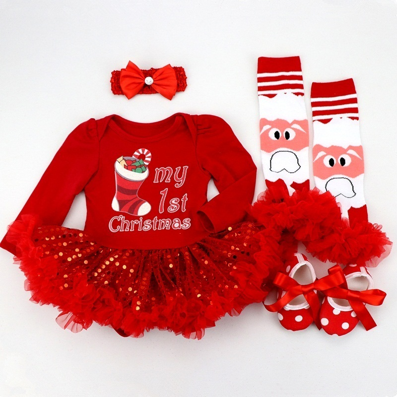 Image 3 - Infant Clothing Set Girls Cutest Deer Outfits Baby Christmas Boutique Clothes Red Bling bling Tutu Dress 4pcs set With Headband-in Dresses from Mother & Kids