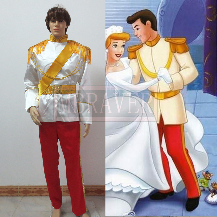 Cinderella Prince Charming Costume Uniform Suit Outfit Adult Men's Halloween Cosplay Costume