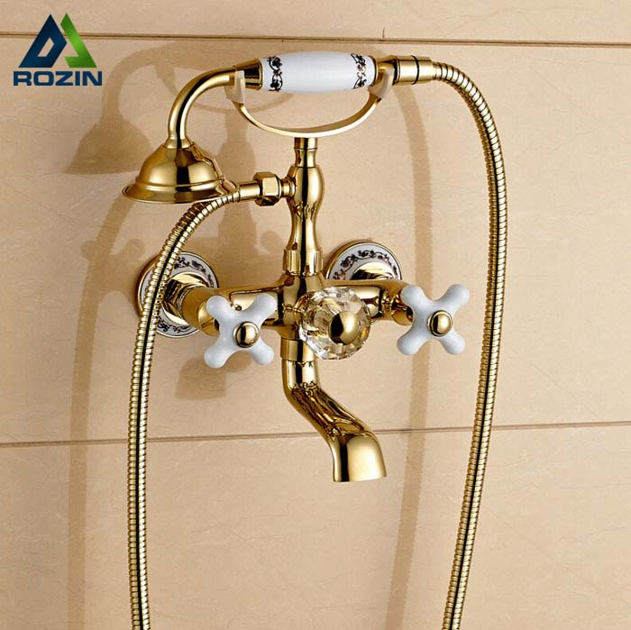 Golden Dual Cross Handles Bathtub Shower Faucet Wall Mount Bathroom Tub Faucet with Handheld Sprayer dual cross handles antique brass bathroom tub faucet with hand held shower sprayer