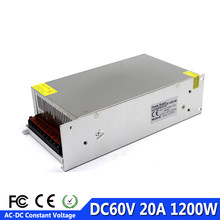 1200 W 60 V 20A simple sortie commutation alimentation pilote transformateurs 220 V 110 V AC à DC60V smps pour CNC Machine bricolage LED CCTV(China)