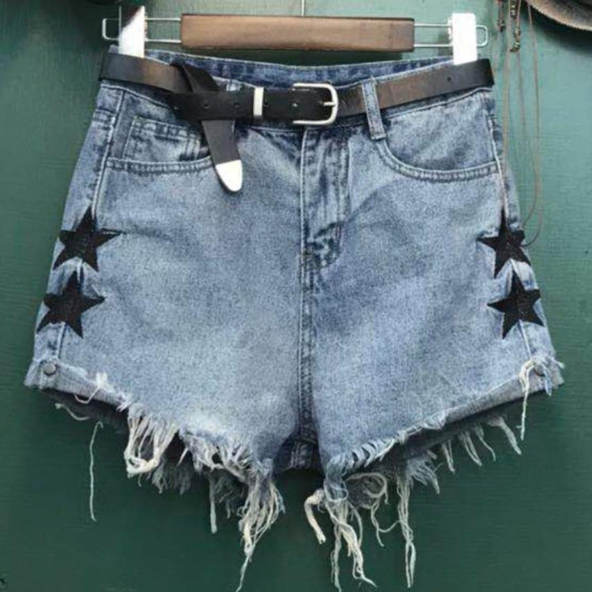 Stars Print Women   Shorts   Fashion Frayed Tassel Denim   Shorts   Washed loose high Waist Super   Shorts   Summer Jean   Shorts