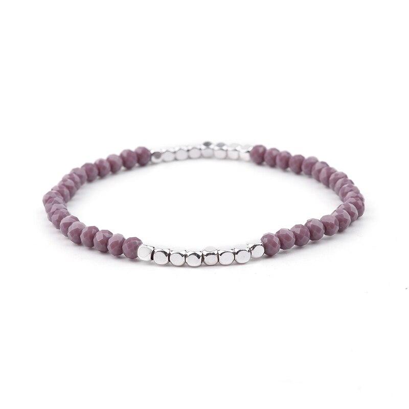 BOJIU многоцветные Кристальные браслеты для женщин золотые акриловые медные бусины розовый белый черный серый женский браслет с кристаллами BC226 - Окраска металла: 8-Grape