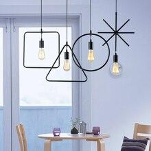 Creative Loft Vintage Geometry Pendant Lamp Iron Retro Northern Europe American Industrial Style E27 Edison Pendant Lights