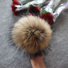 5pcs/ lot DIY 13-14cm Raccoon and Fox Fur pom poms fur balls for knitted hat cap beanies scarf real pompoms
