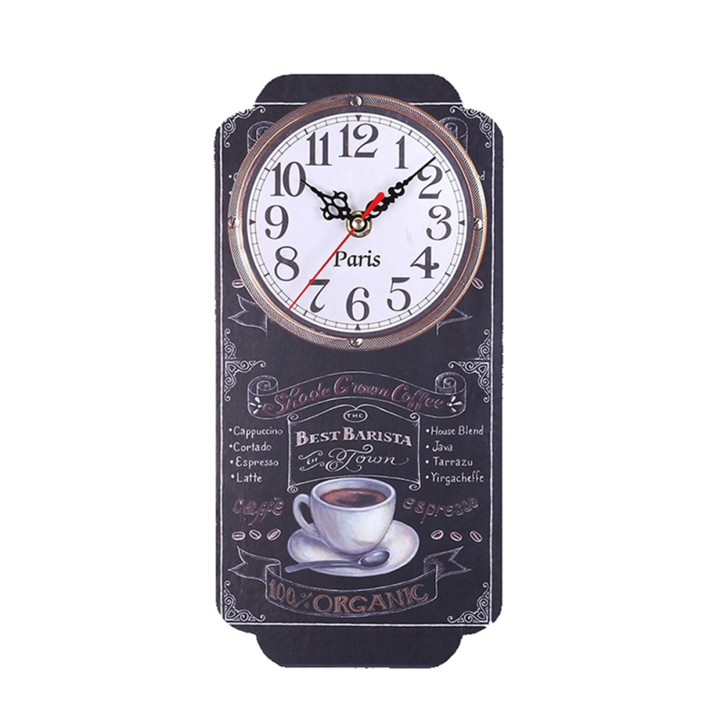European Retro Square Wall Clock Large Silent Wall Clock Digital Rectangle Wall Clock Modern Design Printed Clocks For Home Bar