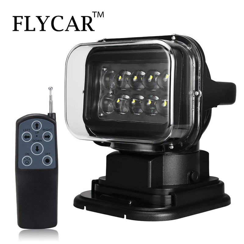 FLYCAR 12V 24V Rotating Remote Control LED Search Light Emergency Construction Working Lamp for Boat Off road Car SUV ATV Boats-in Light Bar/Work Light from Automobiles & Motorcycles    1