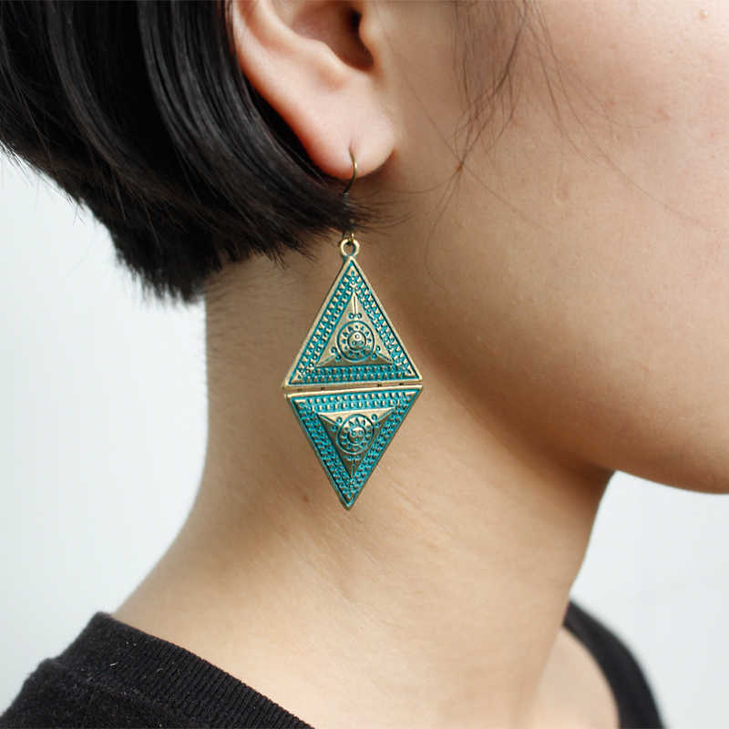 Geometric Triangular Rhombic Earrings Bohemian Ancient Bronze Drop Earrings Romantic Jewelry Earrings For Women Girlfriend Gift