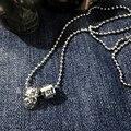 2016 новый Год Сбора Винограда череп ожерелье titanium Стальные Ожерелья Свитера ожерелья моды для мужчин Рок Мужчины Девушку Punk мужчины ювелирные изделия