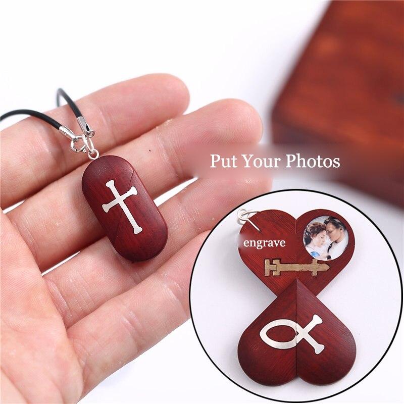 Fait à la main personnaliser bois croix collier pendentif peut changer coeur médaillon forme papillon collier bijoux femmes hommes cadeau - 2