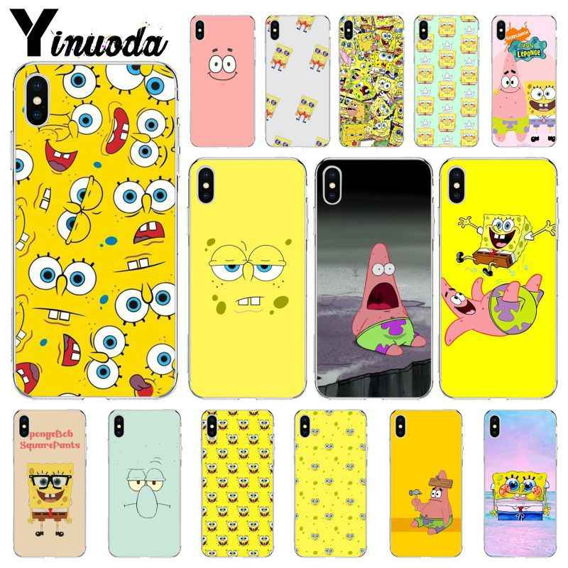 Yinuoda Sponge Bob Rubber Soft Protective Case for iPhone SE 5 6 7 8 6plus 7plus 8 8Plus X XS MAX XR