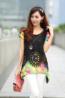 Mulheres verão fresco Respirável Camisa O-neck chiffon andorinha Novo Design manga borboleta Floral impresso blusa preta P5
