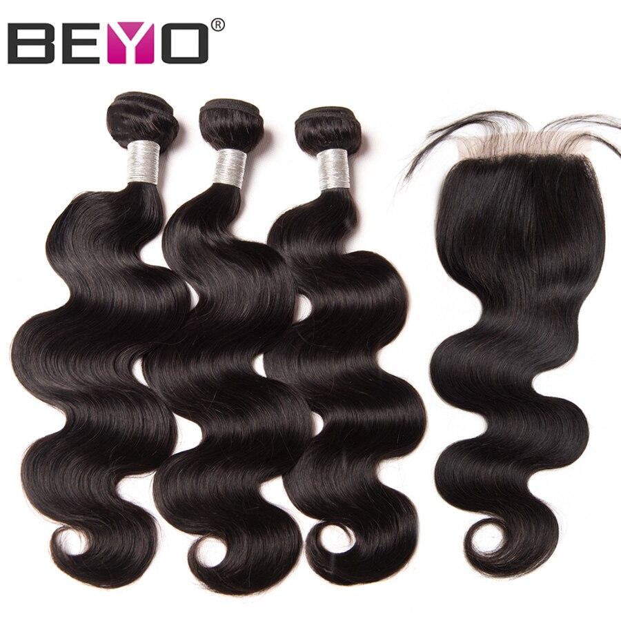 Brazilian Hair Body Wave 3 Bundles With Closure 1B Natural Black Remy Human Hair Bundles With Closure 4x4 Beyo Hair 4pcs/Lot
