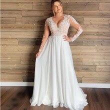 PLUS ขนาดเซ็กซี่ V คอชุดแต่งงานชีฟองแขนยาว A Line ลูกไม้ชุดแต่งงาน vestidos de novia จัดส่งฟรีที่กำหนดเอง made