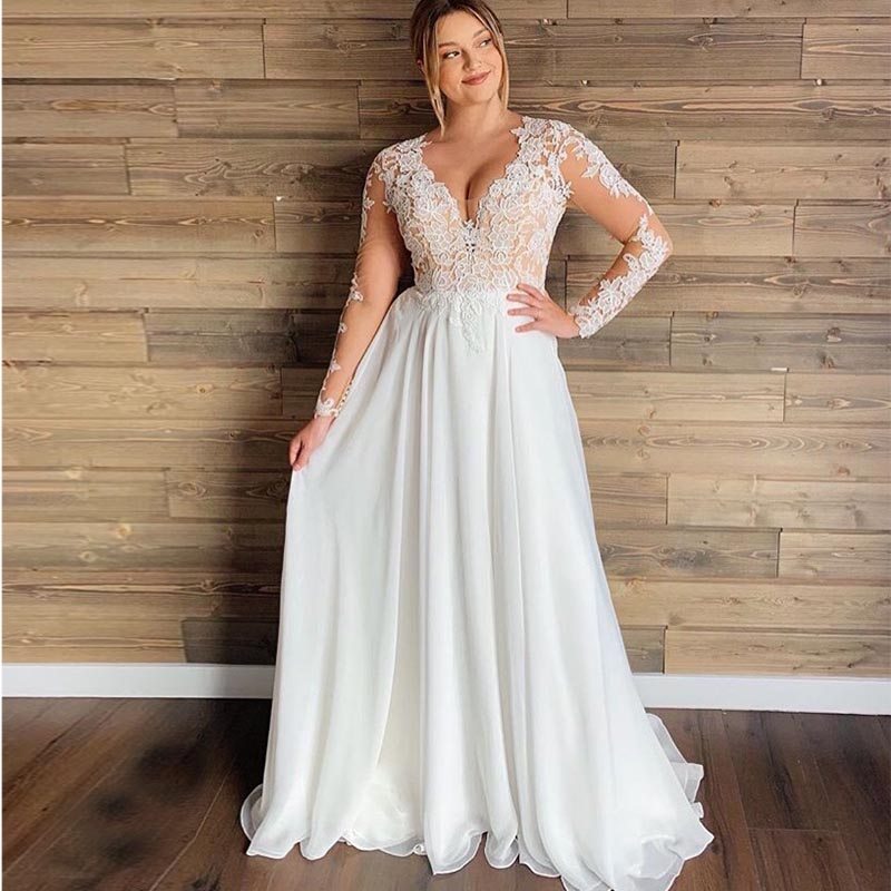 Plus Size Sexy V Neck Wedding Dresses Chiffon Long Sleeve A-Line Lace Wedding Gowns Vestidos De Novia Free Shipping Custom Made