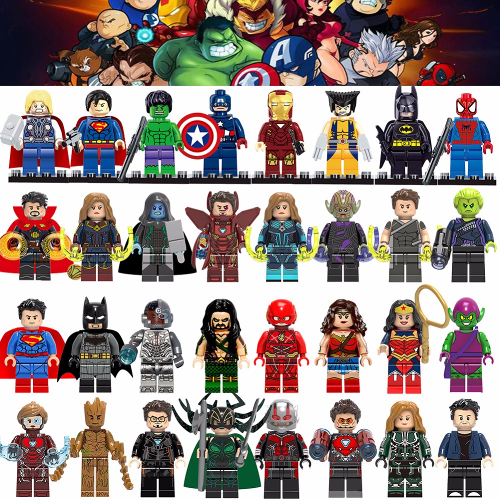 Super Heroes Thanos Iron Man Hulk Spiderman Batman Captain Marvel loki Marvel Avengers Building Blocks Toys Figures gift(China)