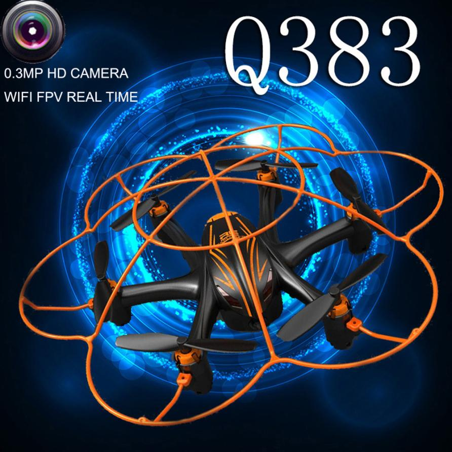ФОТО New mini drone Wltoy Q383 2.4Ghz WIFI FPV RC Quadcopter Drone With Camera 0.3MP Monitor Display Drone toys