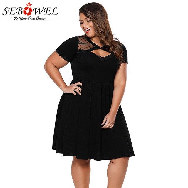 873b7132a7931 Sebowel Black Dot Mesh Skater Dress Plus Size 4XL Women Short Sleeve Nightclub  Dress Big Size
