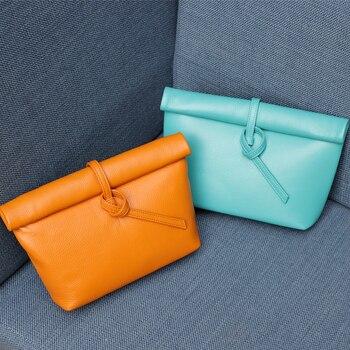 Fashion Women Genuine Leather Handbag 2019 Summer New Shoulder bag Casual Day Clutches Soft Leather Evening Bag