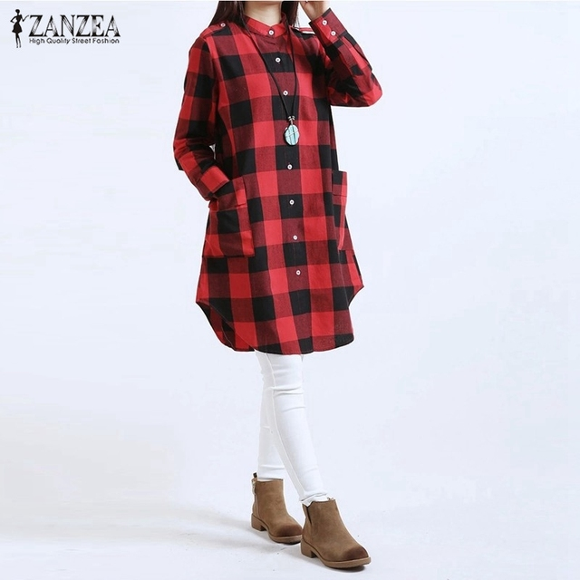 Blusas 2017 Nova Chegada em Estilo Europeu Mulheres Outono Camisas Xadrez Blusas Longas Casual Solto Vestido Vintage Tops Plus Size S-6XL