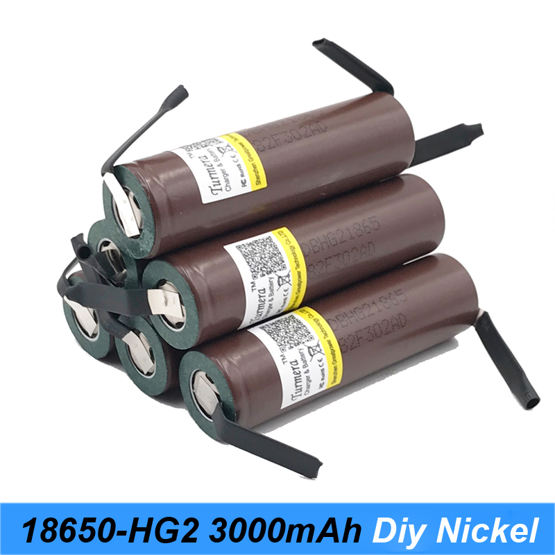 Battery 18650 HG2 3000mAh With Strips Soldered Batteries For Screwdrivers 30A High Current + DIY Nickel Inr18650 Hg2