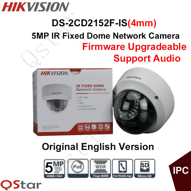 Hikvision Original English Version Surveillance Camera DS-2CD2152F-IS(4mm) 5MP IR Fixed Dome IP Camera POE Audio CCTV Camera hikvision original english cctv camera ds 2cd2142fwd is 4mp fixed dome ip camera poe audio ip67 junction box ds 1280zj dm18