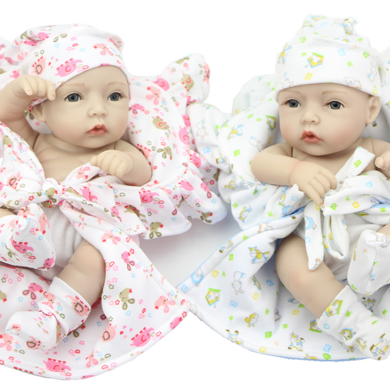 ФОТО Mini 11 Inch Full Silicone Soft Reborn Twins Babies Collectible Newborn Girl And Boy Dolls With Beautiful Clothes Kids Xmas Gift