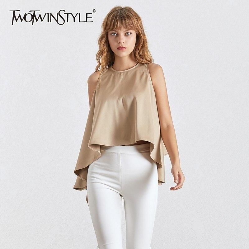 TWOTWINSTYLE Summer Solid Sleeveless Women Blouse Halter Off Shoulder Irregular Oversized Shirt Female Fashion 2020 Elegant