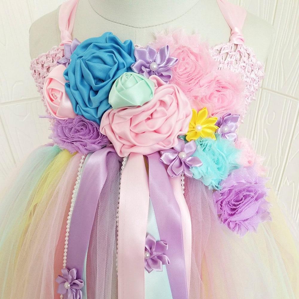 Girl Dresses Kids Long Unicorn Costume for Girls Ankle Length Sleeveless Flower Unicorn Party Dress Tutu Little Pony Ball Gown (15)